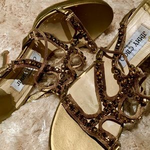 Gold jewled Jimmy Choo Sandals